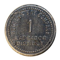 HUDSON'S BAY COMPANY. Labrador District. 1 MB token. Gingras-255. Tin. Uniface. 21mm.