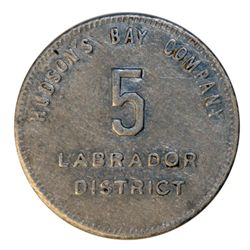 HUDSON'S BAY COMPANY. Labrador District. 5 MB token. Gingras-255a. Reeded border. Tin. Uniface. 25mm
