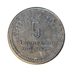 HUDSON'S BAY COMPANY. Labrador District. 5 MB token. Gingras-255b. Beaded border. Tin. Uniface. 25mm