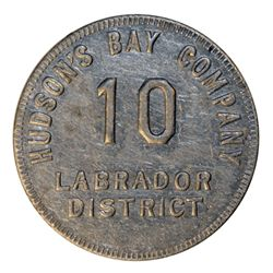 HUDSON'S BAY COMPANY. Labrador District. 10 MB token. Gingras-255c. Tin. Uniface. R-3. 29mm. VF.