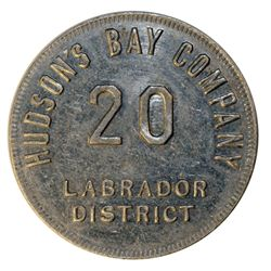 HUDSON'S BAY COMPANY. Labrador District. 20 MB token. Gingras-255d. Tin. Uniface. R-3. 29mm. VF.