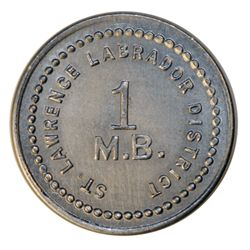HUDSON'S BAY COMPANY. St. Lawrence Labrador District. 1 MB token. Gingras-260. Alum. Small lettering
