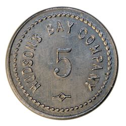 HUDSON'S BAY COMPANY. St. Lawrence Labrador District. 5 MB token. Gingras-260a. Alum. Small letterin