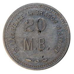 HUDSON'S BAY COMPANY. St. Lawrence Labrador District. 20 MB token. Gingras-260g. Alum. Large letteri