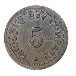 HUDSON'S BAY COMPANY. St. Lawrence Labrador District. 5 MB token. Gingras-260e. Alum. Large letterin