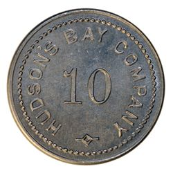 HUDSON'S BAY COMPANY. St. Lawrence Labrador District. 10 MB token. Gingras-260b. Alum. Small letteri