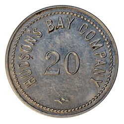 HUDSON'S BAY COMPANY. St. Lawrence Labrador District. 20 MB token. Gingras-260c. Alum. Small letteri