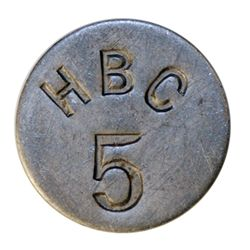 HUDSON'S BAY COMPANY. Eastern Arctic. HBC 5 incuse. (1946). Uniface. Alum. 20mm. Gingras-285. EF.