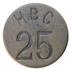 HUDSON'S BAY COMPANY. Eastern Arctic. HBC 25 incuse. (1946). Uniface. Alum. 32mm. Gingras-285b. EF.