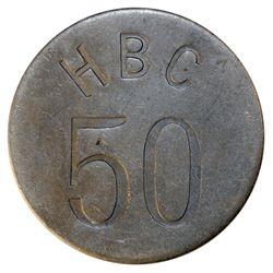 HUDSON'S BAY COMPANY. Eastern Arctic. HBC 50 incuse. (1946). Uniface. Alum. 39mm. Gingras-285c. EF.