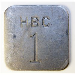HUDSON'S BAY COMPANY. Eastern Arctic. HBC $1 incuse. (1946). Uniface. Alum. 45mm. Square. One White