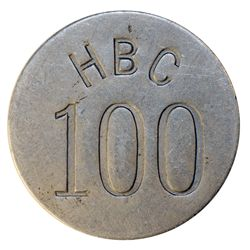 HUDSON'S BAY COMPANY. Eastern Arctic. HBC 100 incuse. (1946). Uniface. Alum. 45mm. Circular. Gingras
