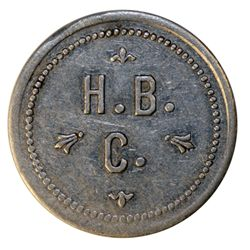 HUDSON'S BAY COMPANY. Ungava Bay District. 5 M.B./H.B./C. Alum. 29mm. Gingras-245(a). R-10. Unlisted