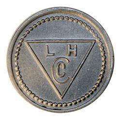 Lamson & Hubbard. (Baker Lake). Obv. L.H./Cc within triangle. Rev. 1/2. Aluminum. Stewart 15. AU. La