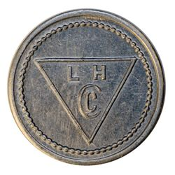 Lamson & Hubbard. (Baker Lake). Obv. L.H./Cc within triangle. Rev. 1. Aluminum. Stewart 16. EF.