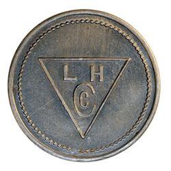 Lamson & Hubbard. (Baker Lake). Obv. L.H./Cc within triangle. Rev. 5. Aluminum. Stewart 17. AU.