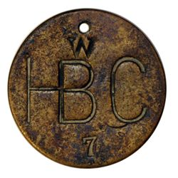 Attributed to the Hudson's Bay Company. Uniface incused brass disc., holed. W/HB C/7. 25mm. As above