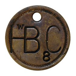 Attributed to the Hudson's Bay Company. Uniface incused brass disc., holed. W/HB C/8. 25mm. As above
