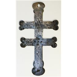 NORTH AMERICAN INDIAN TRADE SILVER CROSS. A Double Bar Lorraine silver Trade Cross. 90mm x 49mm. Hol