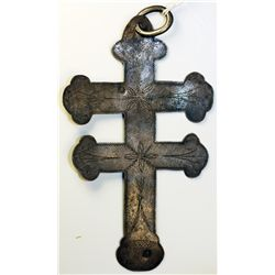 NORTH AMERICAN INDIAN TRADE SILVER CROSS. A Double Bar Lorraine silver Trade Cross. 128mm x 7mm. Hol
