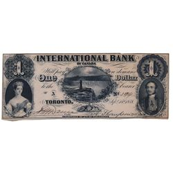 THE INTERNATIONAL BANK OF CANADA. $1.00. Sept. 15, 1858. CH-380-10-02-02. Falls. Signed Dunn/Thompso