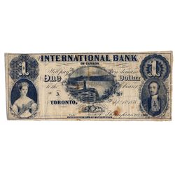 THE INTERNATIONAL BANK OF CANADA. $1.00. Sept. 15, 1858. CH-380-10-02-02R. Falls. Signed Thompson. N