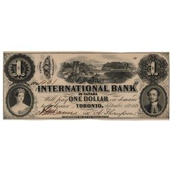 THE INTERNATIONAL BANK OF CANADA. $1.00. Sept. 15, 1858. Bridge. CH-380-10-02-04. Signed Dunn/Thomps