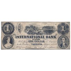 THE INTERNATIONAL BANK OF CANADA. $1.00. Sept. 15, 1858. Bridge. CH-380-10-02-04R. Signed Thompson,