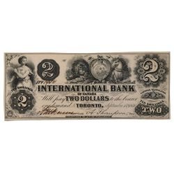 THE INTERNATIONAL BANK OF CANADA. $2.00. Sept. 15, 1858. CH-380-10-02-06. Signed Dunn/Thompson. No P