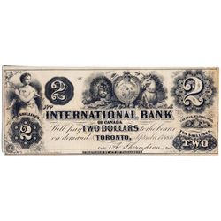 THE INTERNATIONAL BANK OF CANADA. $2.00. Sept. 15, 1858. CH-380-10-02-06R. Signed Thompson. No Prote