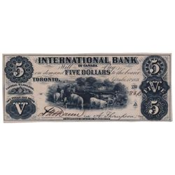 THE INTERNATIONAL BANK OF CANADA. $5.00. Sept. 15, 1858. CH-380-10-02-08. Signed Dunn/Thompson. No P