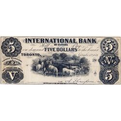 THE INTERNATIONAL BANK OF CANADA. $5.00. Sept. 15, 1858. CH-380-10--2-8R. Signed Thompson. No Protec