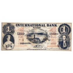 THE INTERNATIONAL BANK OF CANADA. $1.00. Sept. 15, 1858. Falls. CH-380-10-04-2R. Signed Thompson. Re