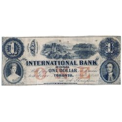 THE INTERNATIONAL BANK OF CANADA. $1.00. Sept. 15, 1858. Bridge. CH-380-10-04-04R. Signed Thompson.