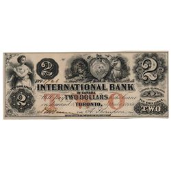 THE INTERNATIONAL BANK OF CANADA. $2.00. Sept. 15, 1858. CH-380-10-04-06. Signed Dunn/Thompson. Red