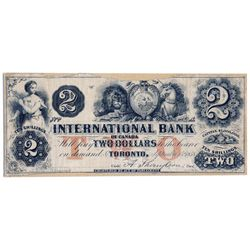 THE INTERNATIONAL BANK OF CANADA. $2.00. Sept. 15, 1858. CH-380-10-04-06R. Signed Thompson. Red 'wor