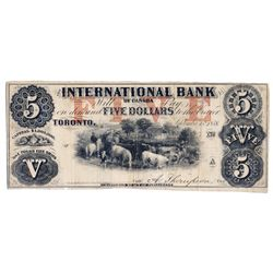 THE INTERNATIONAL BANK OF CANADA. $5.00. Sept. 15, 1858. CH-380-10-04-08R. Signed Thompson. Red 'wor