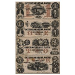 THE INTERNATIONAL BANK OF CANADA. A FULL SHEET. $1.00, $1.00, $2.00, $5.00. Sept. 15, 1858. CH-380-1