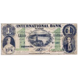 THE INTERNATIONAL BANK OF CANADA. $1.00. Sept. 15, 1858. Falls. CH-380-10-06-02. Signed J.H. Markell