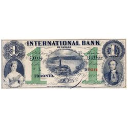 THE INTERNATIONAL BANK OF CANADA. $1.00. Sept. 15, 1858. Falls. CH-380-10-06-04. Signed J.R. Fitch.