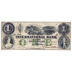 THE INTERNATIONAL BANK OF CANADA. $1.00. Sept. 15, 1858. Bridge. CH-380-10-06-06. Signed J.H. Markel
