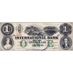THE INTERNATIONAL BANK OF CANADA. $1.00 . Sept. 15, 1858. Bridge. CH-380-10-06-08. Signed J.R. Fitch