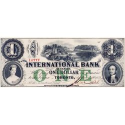 THE INTERNATIONAL BANK OF CANADA. $1.00. Sept. 15, 1858. Bridge. CH-380-10-06-08. Signed J.R. Fitch.