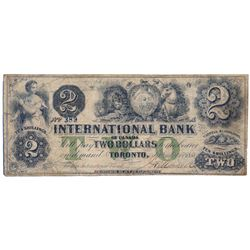 THE INTERNATIONAL BANK OF CANADA. $2.00. Sept. 15, 1858. CH-380-10-06-10. Signed J.H. Markell. Green