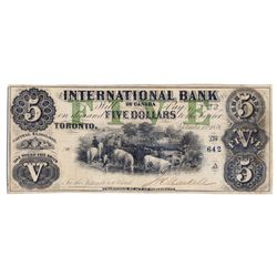 THE INTERNATIONAL BANK OF CANADA. $5.00. Sept. 15, 1858. CH-380-10-06-14. Signed J.H. Markell. Green