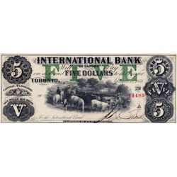 THE INTERNATIONAL BANK OF CANADA. $5.00. Sept. 15, 1858. CH-380-10-06-16. Signed J.R. Fitch. Green '
