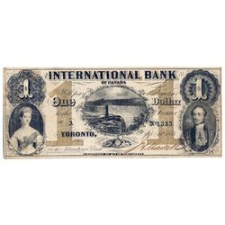 THE INTERNATIONAL BANK OF CANADA. $1.00. Sept. 15, 1858. Falls. CH-380-10-08-02. Signed J.H. Markell