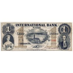 THE INTERNATIONAL BANK OF CANADA. $1.00. Sept. 15, 1858. Falls. CH-380-10-08-02a. Signed J.H. Markel