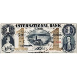 THE INTERNATIONAL BANK OF CANADA. $1.00. Sept. 15, 1858. Falls. CH-380-10-08-04. Signed J.R. Fitch.