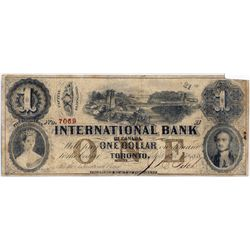 THE INTERNATIONAL BANK OF CANADA. $$1.00. Sept. 15, 1858. Bridge. CH-380-10-08-08. Signed J.R. Fitch